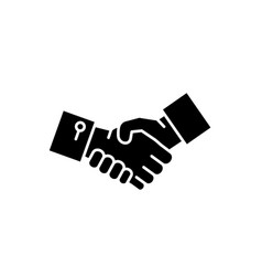 shake hands black icon sign on isolated vector image