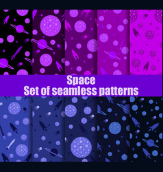 Space seamless pattern set galaxy background vector