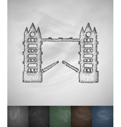 Tower bridge icon hand drawn vector
