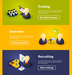 training interview and recruiting banners of vector image