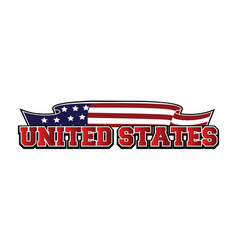 United states text and waving american flag logo vector