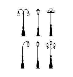 Vintage streetlights black silhouettes set vector
