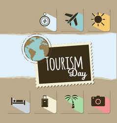 World tourism day card on brown background vector