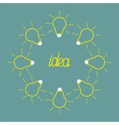 Yellow empty light bulb round frame Idea concept vector image