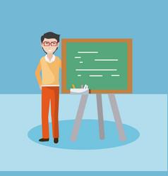 Young teacher with blackboard vector
