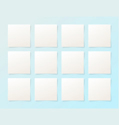 12 pieces blank sheet of white paper with the vector image