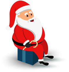 Christmas smiling Santa Claus character sitting on vector image