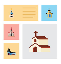 flat icon building set of christian traditional vector image
