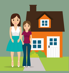mom with teenage daughter new house vector image