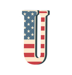 Capital 3d letter u with american flag texture vector