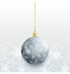 Christmas card with grey christmas ball vector image vector image