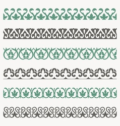 Decorative seamless ornamental borders set vector image