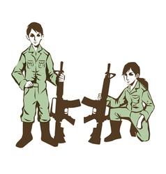 soldier kids in uniform at war vector image