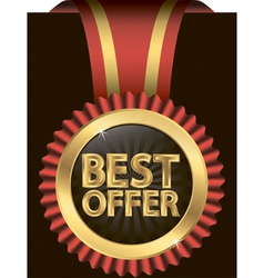 Best offer golden label with ribbon vector image vector image