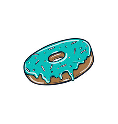 donut with mint icing vector image