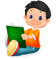 Little boy reading book vector image