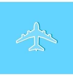 Blue plane icon on blue vector image