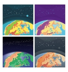 Collection of cosmic background with Earth vector image