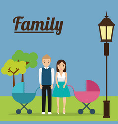 couple with baby carriage family concept vector image
