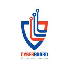 cyber guard logo template concept vector image