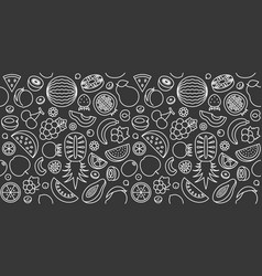 seamless pattern of fruits in outline icon vector image