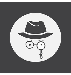 Unknown man in hat glasses and a magnifying glass vector image vector image