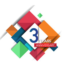 3 years anniversary design colorful square style vector