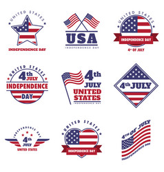 4th july united states independence day emblem set vector