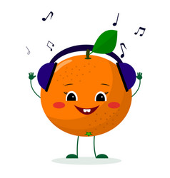 A cute orange character in cartoon style listening vector