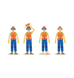 a set of accidents with a worker in an orange vector image