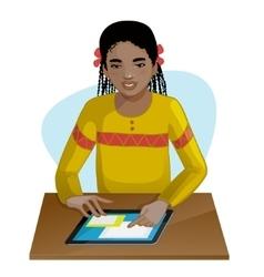 African american girl working on digital tablet vector image vector image