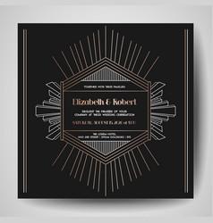 art deco wedding invitation save date card vector image