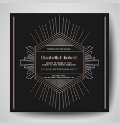 art deco wedding invitation save the date card vector image