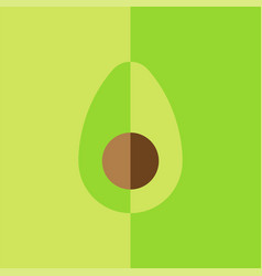 Avocado with seed art graphic print cross section vector