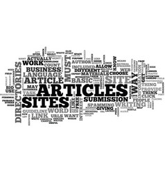 Basic guideline about article directories text vector