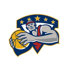 Basketball player holding ball star retro vector