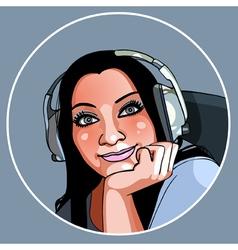 Beautiful girl in headphones smiling vector