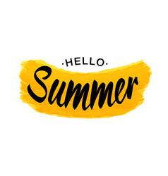 black lettering hello summer - yellow grunge shape vector image