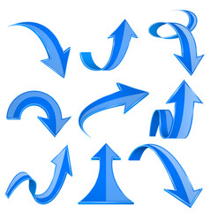 blue 3d arrows bent and curled up icons vector image