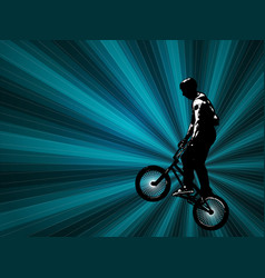 bmx stunt cyclist on abstract background vector image