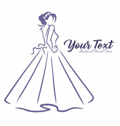 Bridal wear boutique logo sexy wedding gown dress vector