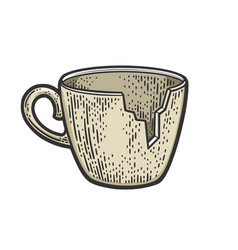 Broken cup without fragment sketch vector