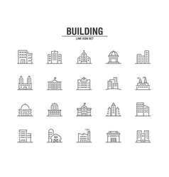 building and real estate line icons vector image