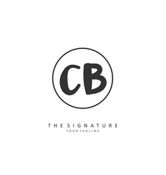 c b cb initial letter handwriting and signature vector image