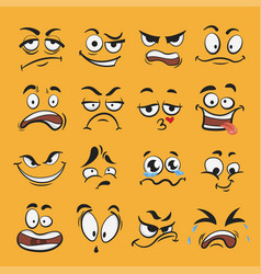 Cartoon emotion set different cute face vector