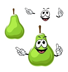 Cartoon funny green pear fruit vector image