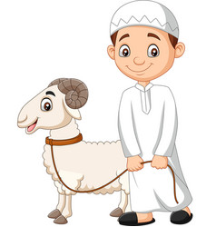 cartoon muslim boy with a goat vector image
