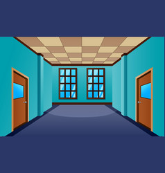 Cartoon school hallway with window and many doors vector
