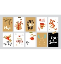 Christmas tags with doodles and greetings vector