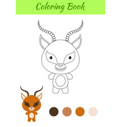 Coloring page happy little gazelle vector